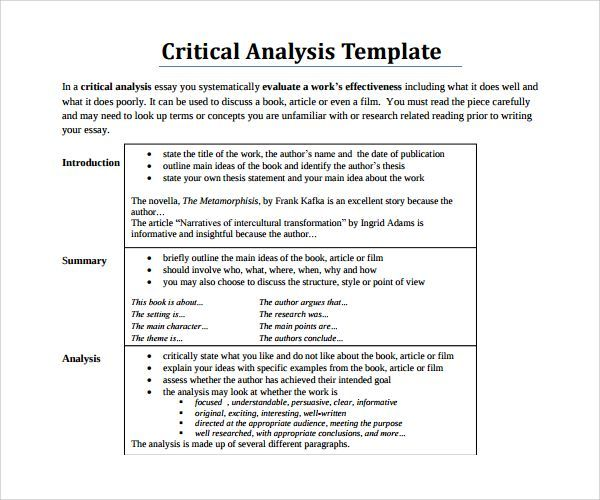 critical analysis template